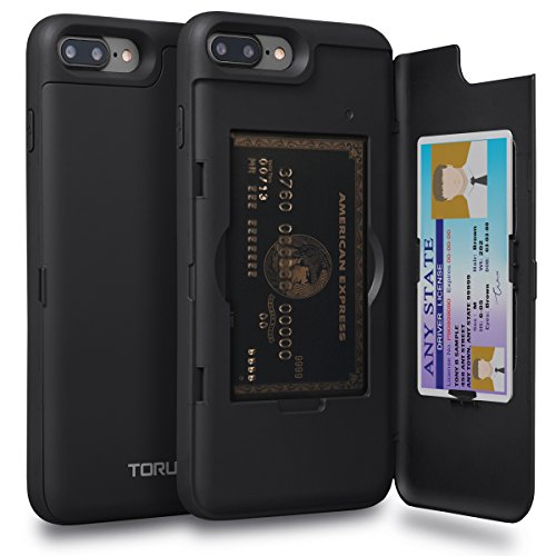 TORU CX PRO iPhone 7 Plus Wallet Case with Hidden ID Slot Credit Card Holder Hard Cover & Mirror for iPhone 7 Plus/iPhone 8 Plus - Matte Black