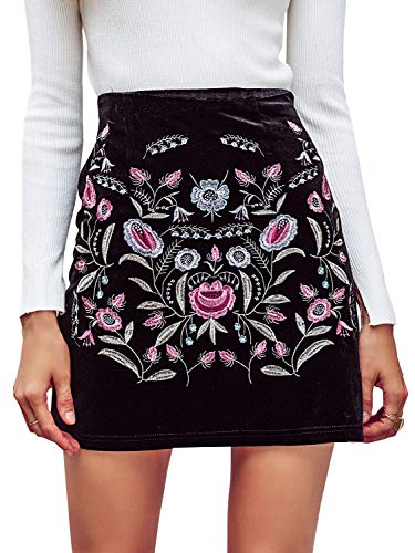 (Missy Chilli Women's High Waisted Embroidered A Line Bodycon Short Mini Skirt (4/6, Black 2))