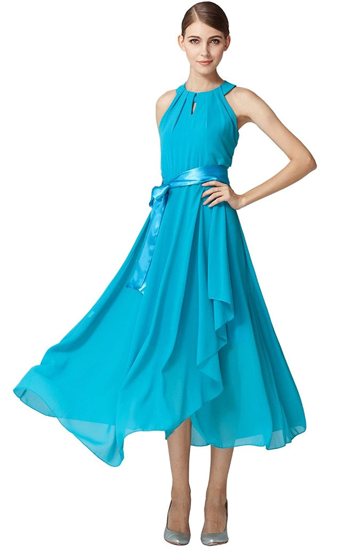 Ababalaya Women's Halter Prom Party Long Chiffon Dress with Belt