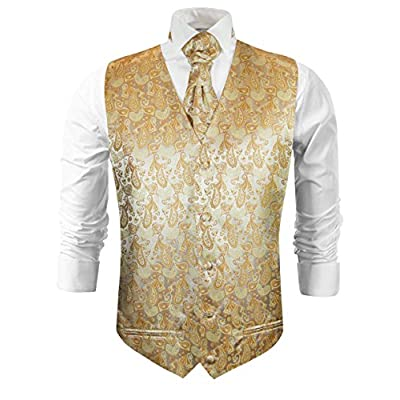 Top Paul Malone Gold Paisley Tuxedo Vest Set free shipping