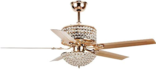 52″ Crystal Gold Ceiling Fan Light Luxury Light Fixture Quiet Motor 5 Premium Metal Wood Blades 3 Speed Ceiling Fan Remote Control Decoration