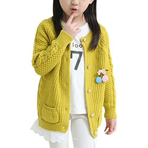 Girls' Lace Crewneck Knit Cardigan Sweater Long Sleeve Coats Outwear Yellow 140cm (Long Cardigan Girls)