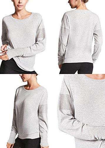 Fihapyli Women Dolman Style Long Sleeve Soft Rayon Top Tee Stretchy Loose Casual Yoga Top Running Gym Sports Blouse with Thumb Hole (Gray, XXL) by Fihapyli (Image #3)
