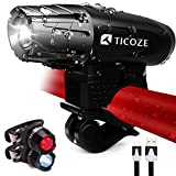 Cheap TICOZE Bike Light Set, USB Pro Rechargeable Headlight with Free LED Tail Lights- 400 Lumen Bright, IP65 Waterproof, Easy to Install, Safe Cycling for Night Rider, Mountain Bike, Road Bike