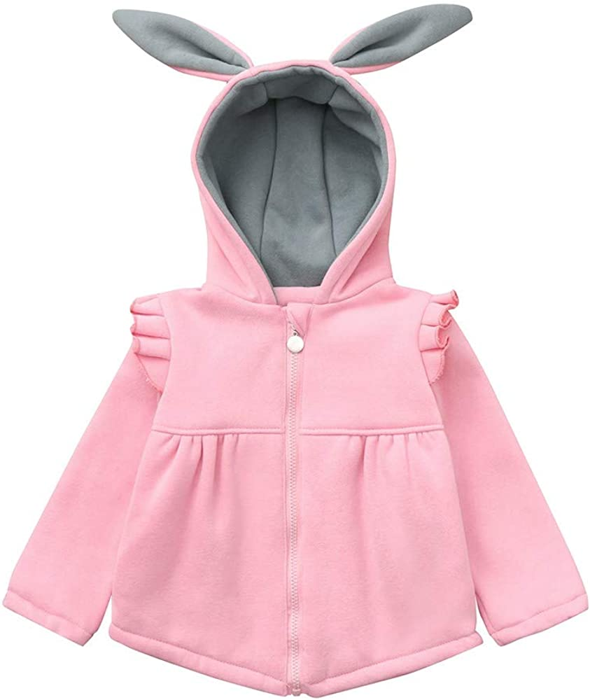 RDTIAN 0-4 Years Baby Girls Jackets Rabbit Ears Hooded Thick Winter Warm Coat