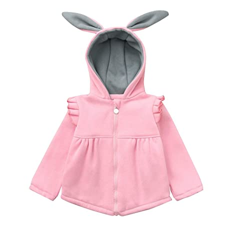 4b098e5f5 Amazon.com  Baby Girl Rabbit Ears Outfits Kids Hoodie Jackets ...