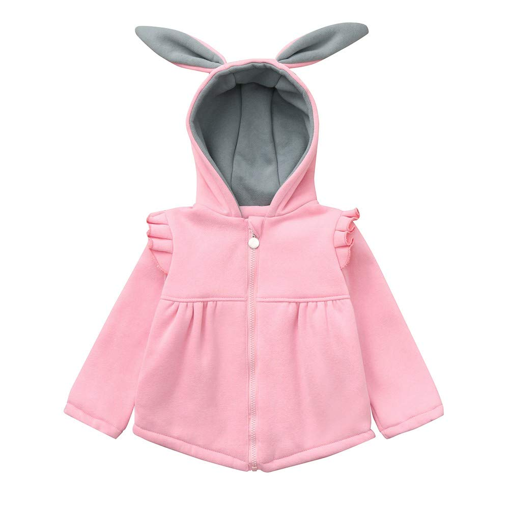 Baby Girls Warm Thick Coat Cute Rabbit Ears Solid Long Sleeve Hooded Winter Outerwear Windprood Jacket