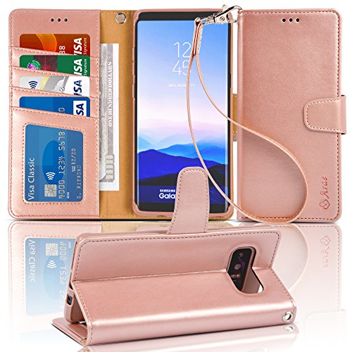 Arae Wallet Case Compatible for Samsung Galaxy Note 8 with Kickstand and Flip Cover (Rose Gold) (Galaxy Note 4 Leather Wallet Case)