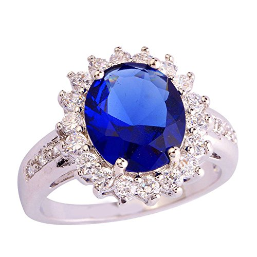 (Narica Womens Brilliant 12mmx12mm Sapphire Quartz Cocktail Ring Band)