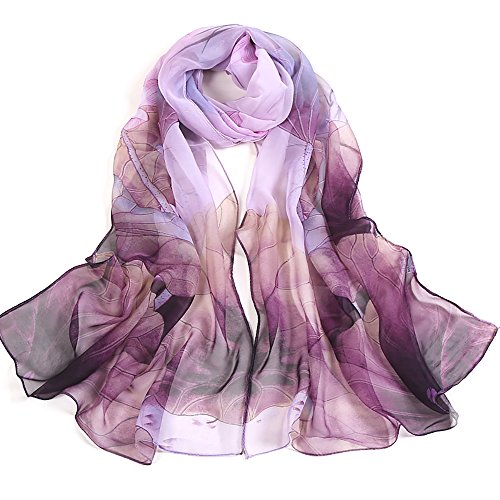 Print Silk Feeling Scarf Fashion Scarves Lightweight Sunscreen Shawls for Women (Purple)