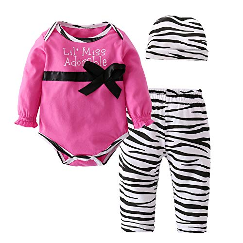 3Pcs Newborn Baby Girls Bowknot Bodysuit Tops Pants Hat Clothes Outfits Set