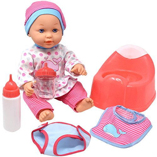 Drink and Wet Baby Doll, With Training Potty, 2 Bottles, Diaper, Bib (Video Diaper Cloth Game)