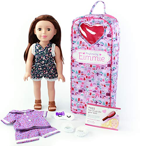 Playtime by Eimmie 18 Inch Doll - Soft Body Fashion Doll for Girls - Includes Backpack Carrying Case, Two Outfits, Slippers and Eye Mask - Brunette