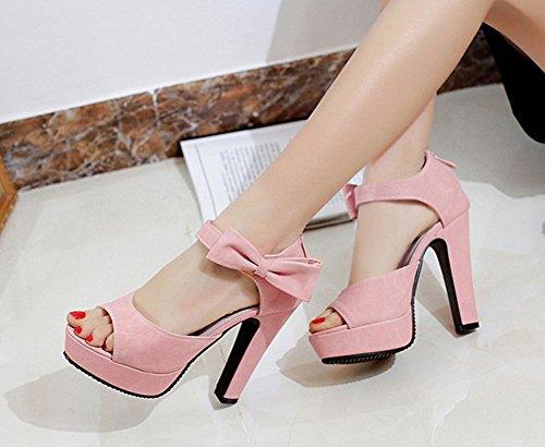 Aisun Womens Sweet Bowknot Sandali In Plateau Con Cinturino Alla Caviglia E Cinturino Alla Caviglia Rosa