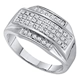 Mens Diamond Ring Solid 10k White gold Fashion Band Round Pave Set Cluster Style Polished Fancy 1/3 ctw