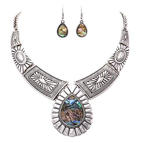 Rosemarie Collections Women's Southwest Teardrop Stone Statement Necklace Earrings Set (Abalone) -
