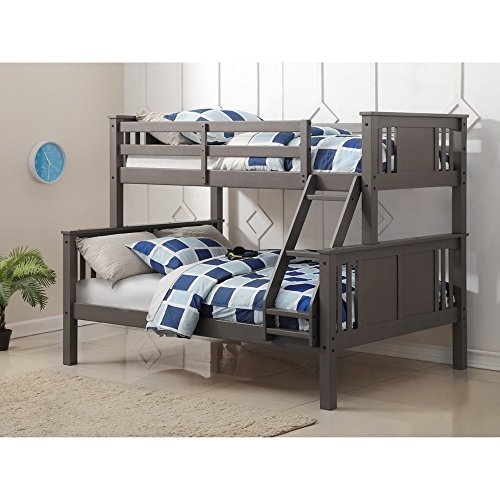 Donco Kids 318TFSG Series Bed, Twin/Full, Slate Gray (Full Youth Captain Bed)