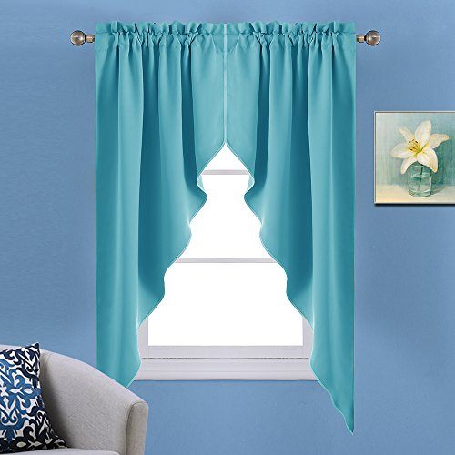 NICETOWN Blackout Home Decor Rod Pocket Kitchen Tier Curtains- Tailored Scalloped Valance /Swags (2-Pack, 36 by 63-Inch Each Panel,Turquoise) - Decor Swag