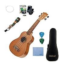 Mahogany Ukulele Starter Kits for Beginner with Tuner, Strap, Padded Bag, Strings, Wipe, Picks