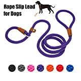 Lynxking Dog Leash Rope Strong Heavy Duty Braided Rope Slip Leads No Pull Training Lead Leashes for Medium Large Dogs (5', Purple)