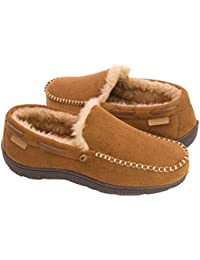 Men's Wool Microsuede Moccasin Slippers Memory Foam House...