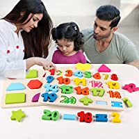 3 in 1 Puzzles for Toddlers 3 Piece Wooden Peg Puzzle Set - Alphabet ABC Numbers Shapes Jigsaw Toy - Puzzles for Kids Learning Letters, Number, Shape Board for Toddlers Ages 3+