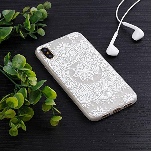 iPhone 8 Custodia , Leiai Moda MandalA Bianca Fluorescenza Trasparente Silicone Morbido PU Protettivo Antiurto Cover Case Shell Custodia per Apple iPhone 8