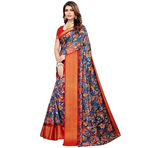 51JfYDhptpL. SS500  - Akhilam Women's Printed Linen Saree with Unstitched Blouse Piece (Blue_BGBLT80006)