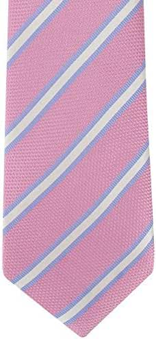 Pink/White/Blue Classic Stripe Silk Tie by Michelsons of London