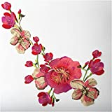 Flower Embroidered Applique Sew On Decorative Patches Badge Floral Neckline Lace Trimming Venise Collar Embellishment Hat Bag Clothes Bust Jeans Transfer Wedding Embroidery Sewing Craft (Applique 18)