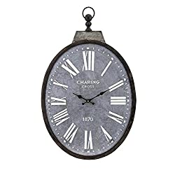 CC Home Furnishings 28.5 Large Black Jacey Rustic Vintage Roman Numeral Wall Clock