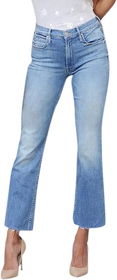 Cdoston Pantalones Vaqueros Largos Para Mujer Cintura Alta Elegante Con Cinturon Vaqueros Monocromo Ajustados Para Exteriores Azul Claro Xl Amazon Es Ropa Y Accesorios