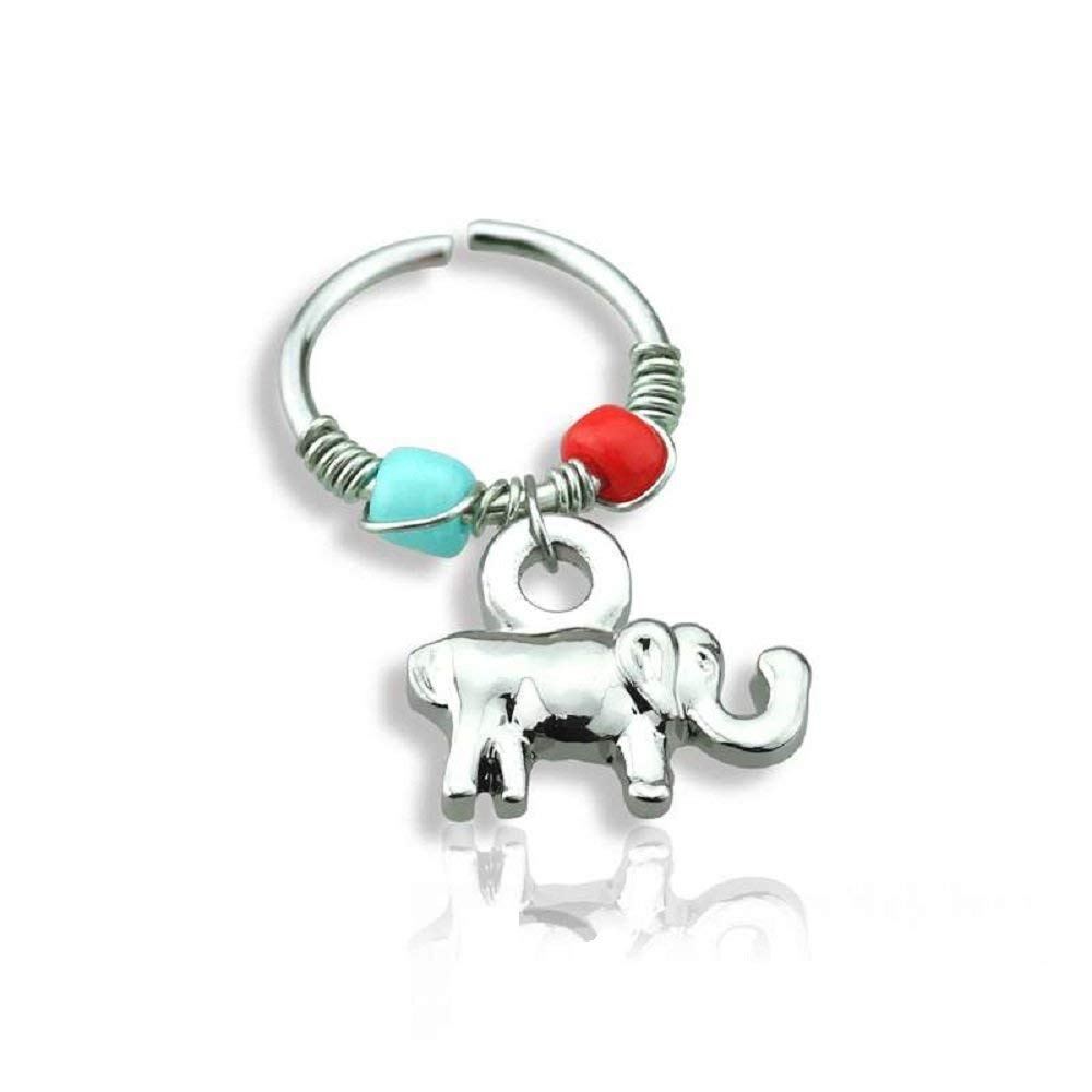 Covet Jewelry Tiny Elephant Dangle 316L Surgical Steel Nose Hoop