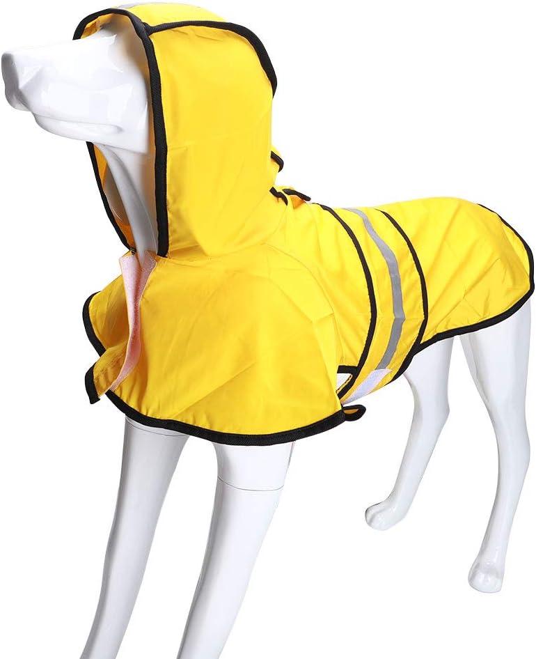 100/% impermeable agujero para el cuello transpirable Chubasquero para perro con capucha impermeable ultraligero CENGYIUK con tiras reflectantes seguras para perros de tama/ño mediano a grande