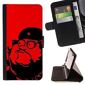 COMMUNISM RED STAR REVOLUTION LEADER/ Personalizada del estilo del dise???¡Ào de la PU Caso de encargo del cuero del tir????n del soporte d - Cao - For Samsung Galaxy S4 Mini i9190