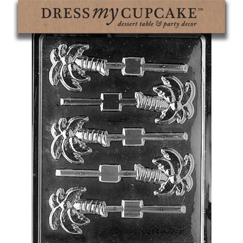Dress My Cupcake DMCF044 Chocolate Candy Mold, Palm Tree Lollipop