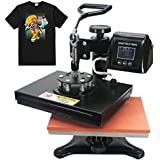 "Royalpress 9"" X 12"" Color LED Intelligent Memory Digital with Counter Function Sublimation Heat Transfer Machine 360-degree Rotation Swing Away T-Shirt Heat Press Machine Black (9"" X 12"")"