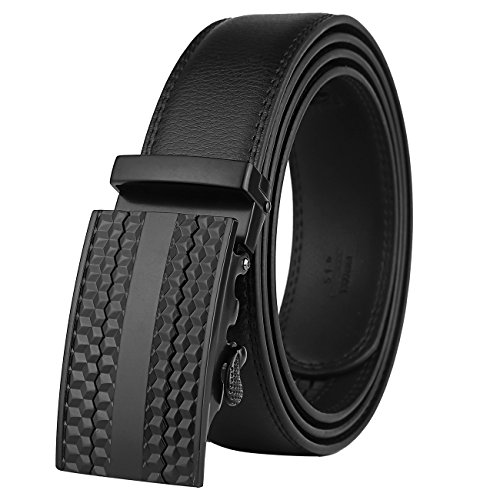 Men's Leather Belt-Ratchet Dress Belt with Automatic Buckle (Alloy Buckle # 25-0383) - Five Buckle