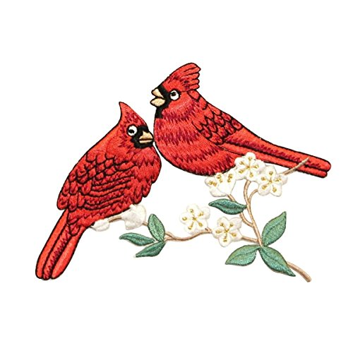 Love Birds Applique (ID 0595 Pair of Cardinals Patch Love Bird Robin Embroidered Iron On Applique)