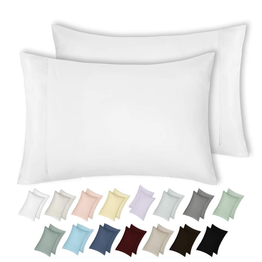 California Design Den 400 Thread Count 100% Cotton Pillow Cases, Pure White King Pillowcase Set of 2, Long - Staple Combed Pure Natural Cotton Pillowcase, Soft & Silky Sateen Weave