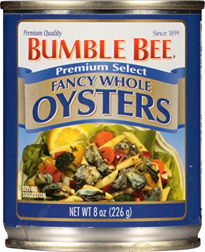 BUMBLE BEE Premium Select Fancy Whole Oysters, 8 Ounce Can (Pack of 12), High Protein Food, Keto Food and Snacks, Gluten Free Food, High Protein Snacks, Canned Food