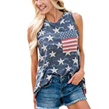 Loose Vest for Women American Flag Print O Neck Sleeveless Pocket Summer Basic Tunic Tank Top (XXL, Red)