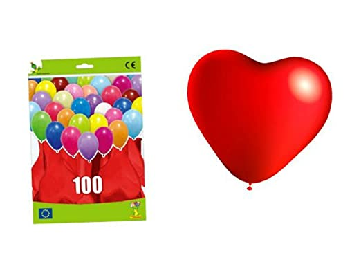 Bolsas de 100 Globos Corazón Rojos . Juguetes y Regalos ...