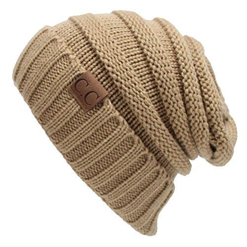 Winter Hats Women Cap Crochet Knit Thermal Slouchy Beanie Hat / Khaki