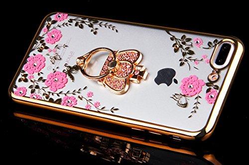 Funda para iPhone 7 plus, Ukayfe Suave Carcasa Caso Parachoques Diseño pintado Patrón para iPhone 7 plus,Funda Case Lujo Premium Bling Caja PC Dura Ultra Fina Cubierta Matt Glitter Protectora Caja Shi Rosa-Soporte corona-Dorado