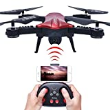 Foldable Wi-Fi FPV Drone with Camera Live Video Capability – MaQue Folding Drones with Cameras Series Includes HD 720p Drone Camera, 1-Key Control & 360° Flips