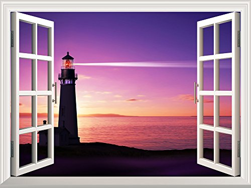 Removable Wall Sticker Wall Mural Beautiful Seascape of Lighthouse on the Beach at Sunset Creative Window View Wall Decor