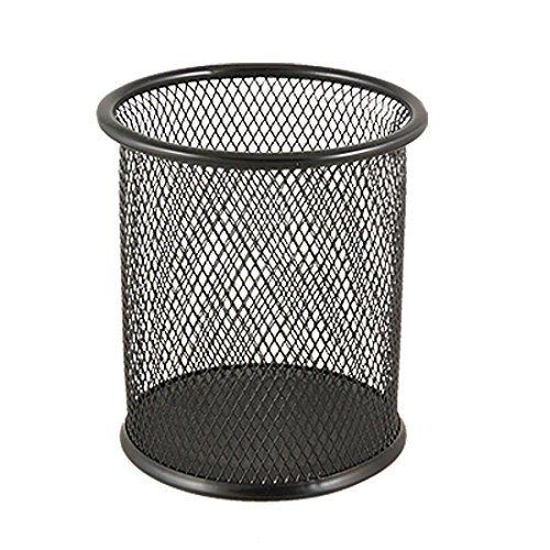 Tuliptown Round Shape Steel Mesh Pencil Cup/Pen Holder/Desk Organizer for Home Office Supplies - Round Cup Black