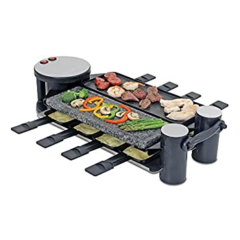 Image of Home and Kitchen Swissmar 8 Person Swivel Raclette Cast Aluminum and Stone Grill Top