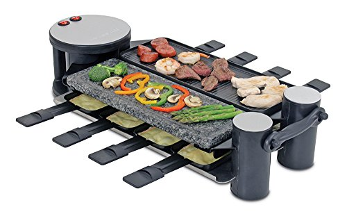 , Swissmar KF-77073 Swivel 8-Person Raclette with Granite Stone and Cast Aluminum Non Stick Grill Plate, Black